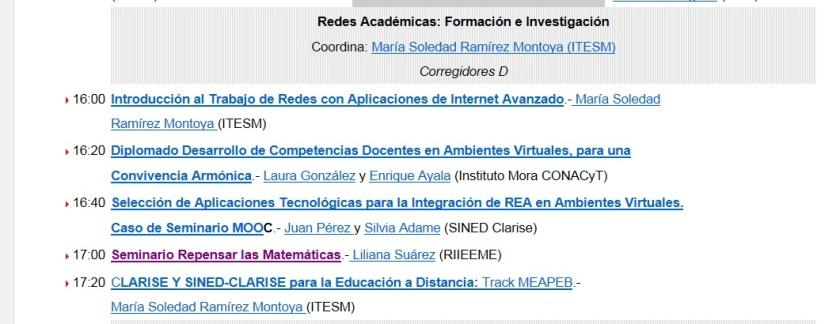 Programa Mesa. Redes Académicas Formación e Investigación